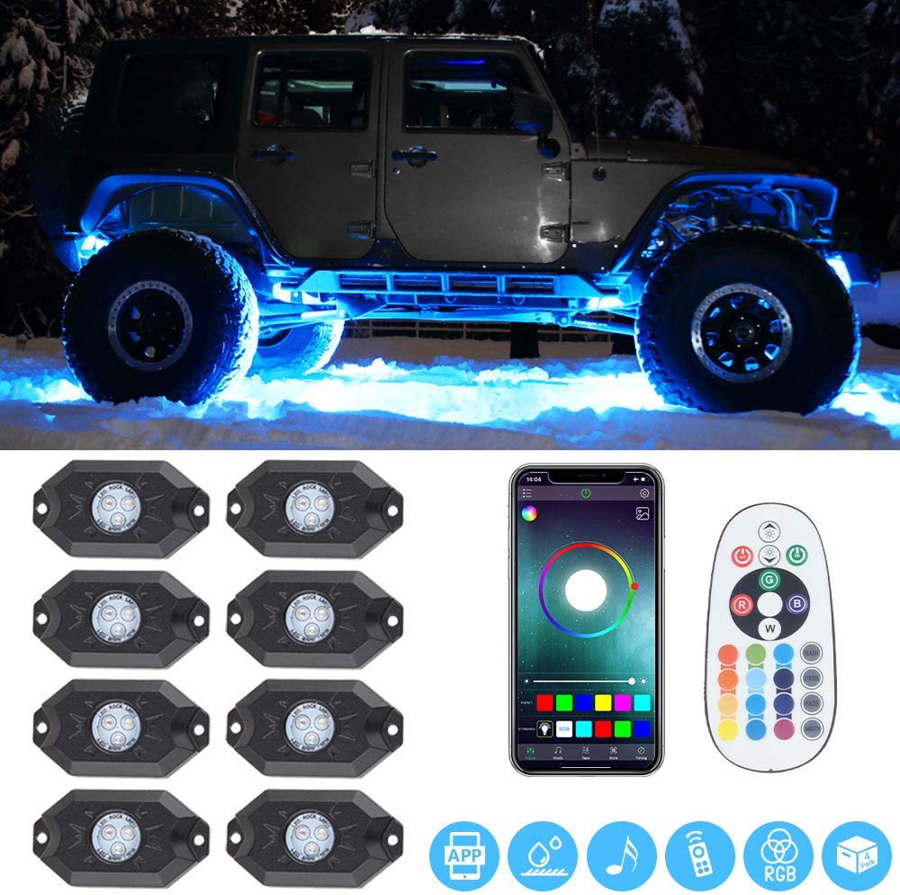 8Pods LED RGB Rock Lights Along With Cell Phone Control and Bluetooth Controller