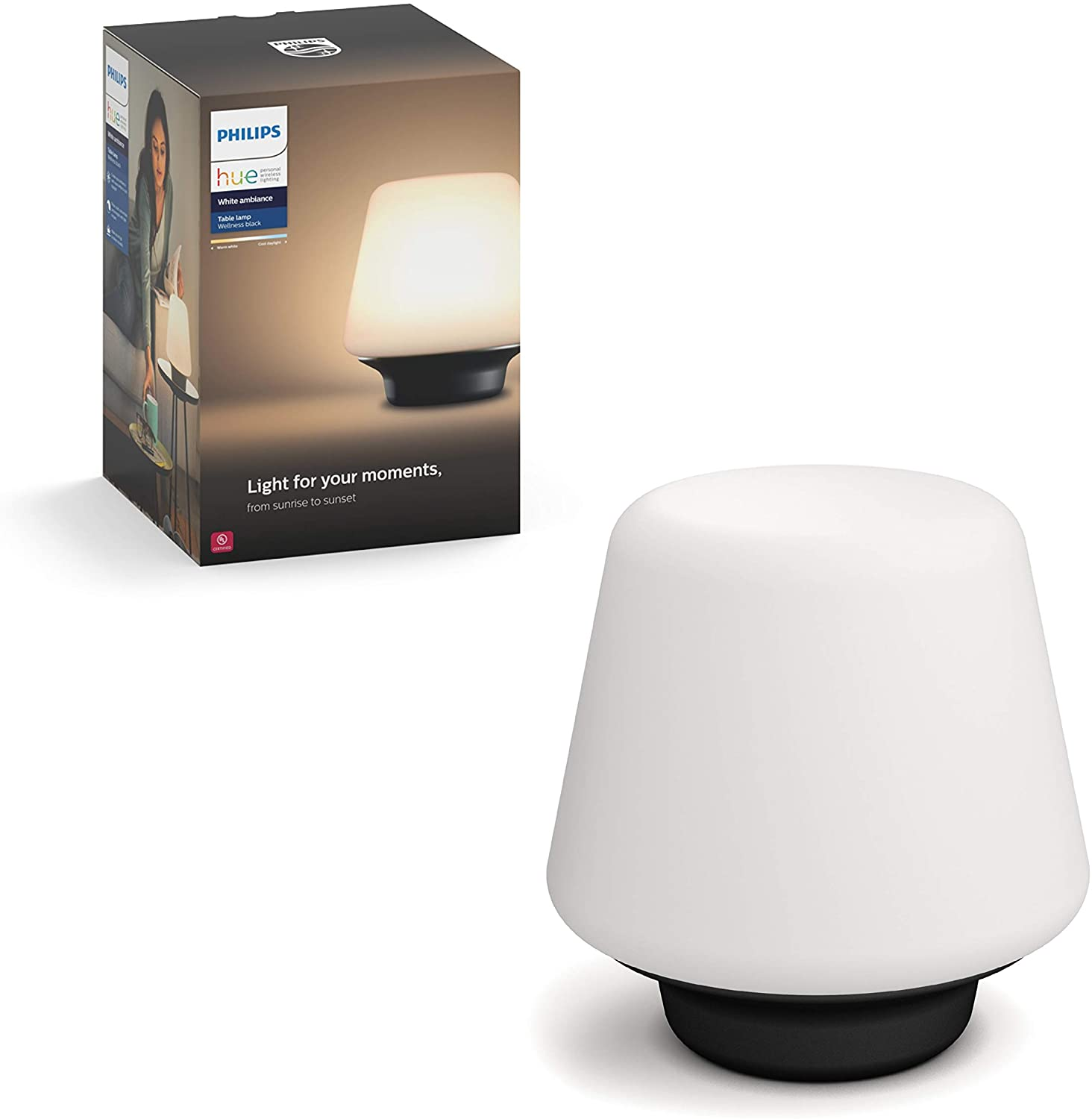 Philips Hue White Ambiance Wellness Dimmable LED Smart Table Lamp