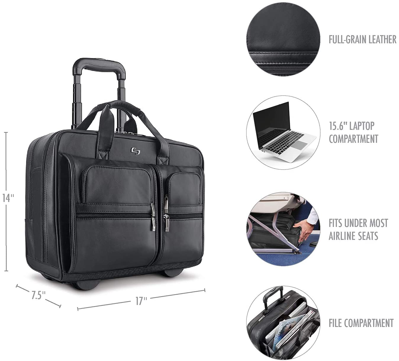 Solo New York Franklin Rolling Leather Laptop Bag