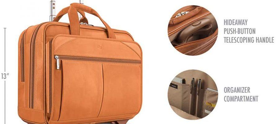 Solo New York Walker Leather Rolling Laptop Bag