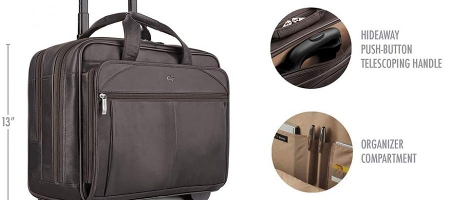 Solo New York Walker Leather Rolling Laptop Bag