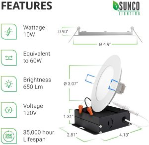 Sunco Lighting 4 Inch LED Recessed downlight
