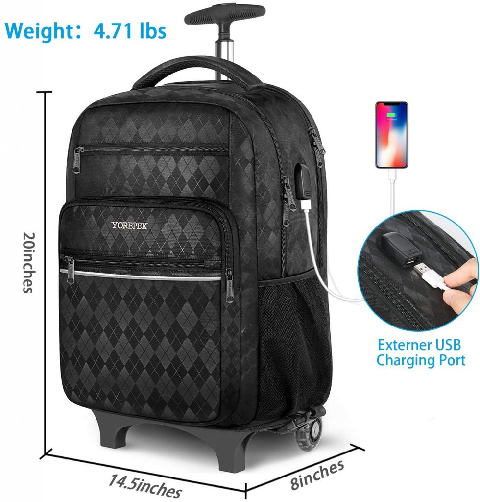 YOREPEK 17 Inch Large Roller Backpack