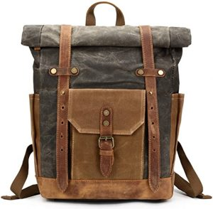 Mwatcher Canvas Leather Backpack