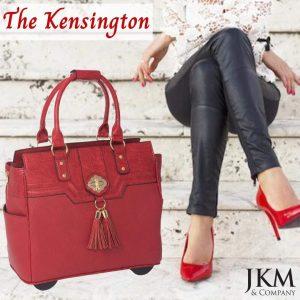 THE KENSINGTON Red Alligator Crocodile Rolling Laptop Bag