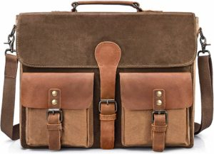 waxed canvas laptop briefcase