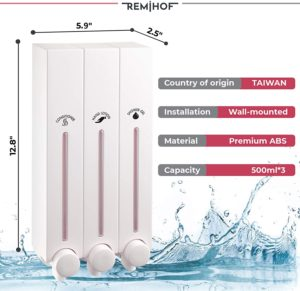 REMIHOF 3 Chamber Wall Mounted Shower Soap Dispenser