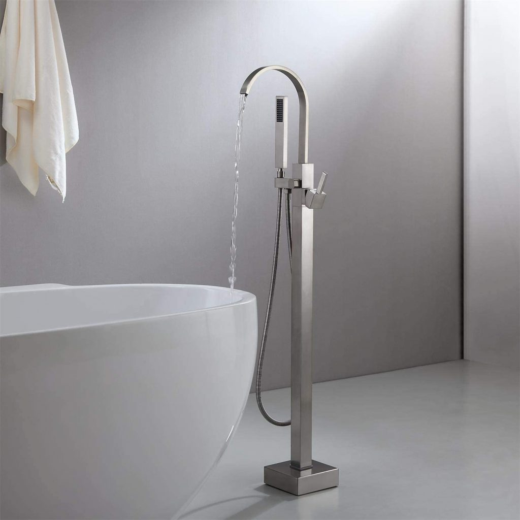 brushed nickel freestanding bathtub faucet