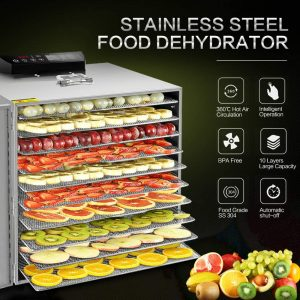 VVinRC 10 Layers Stainless Steel Food Dehydrator